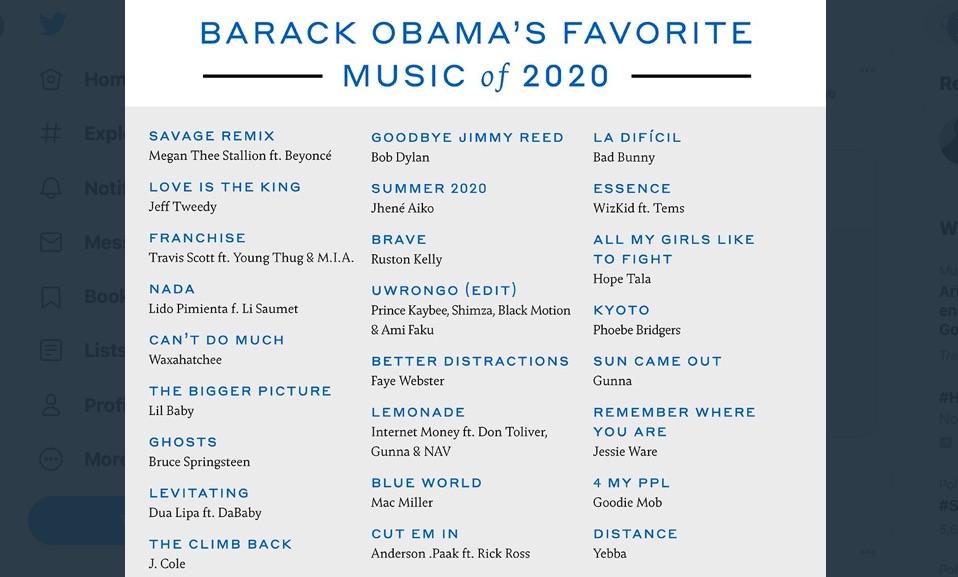 Barack Obama's favorite music of 2020