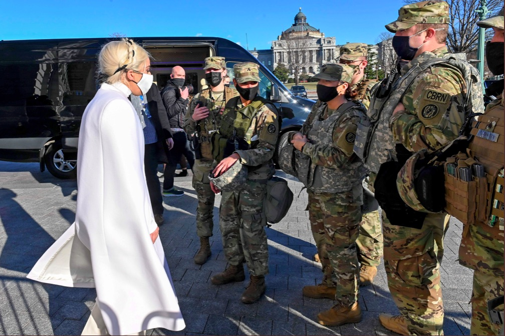 Lady Gaga Visits The National Guards